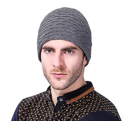 9dc30af0fc21 Le World Chapeau d hiver pour Homme Femme, tricoté Chapeau Bonnet plissé  épais Chaud Bonnets Chapeau Chapeau de vélo Coupe-Vent Sport Chapeau, ...