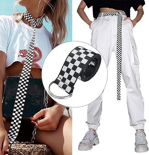 fllyingu 135 cm Cinturón de Damas para Damas Cinturón Lienzo Cinturón Negro Blanco a Cuadros Unisex Cinturón de Mujer Hebilla Larga Lona Cinturón Decorativo del Todo fósforo: Amazon.es: Hogar