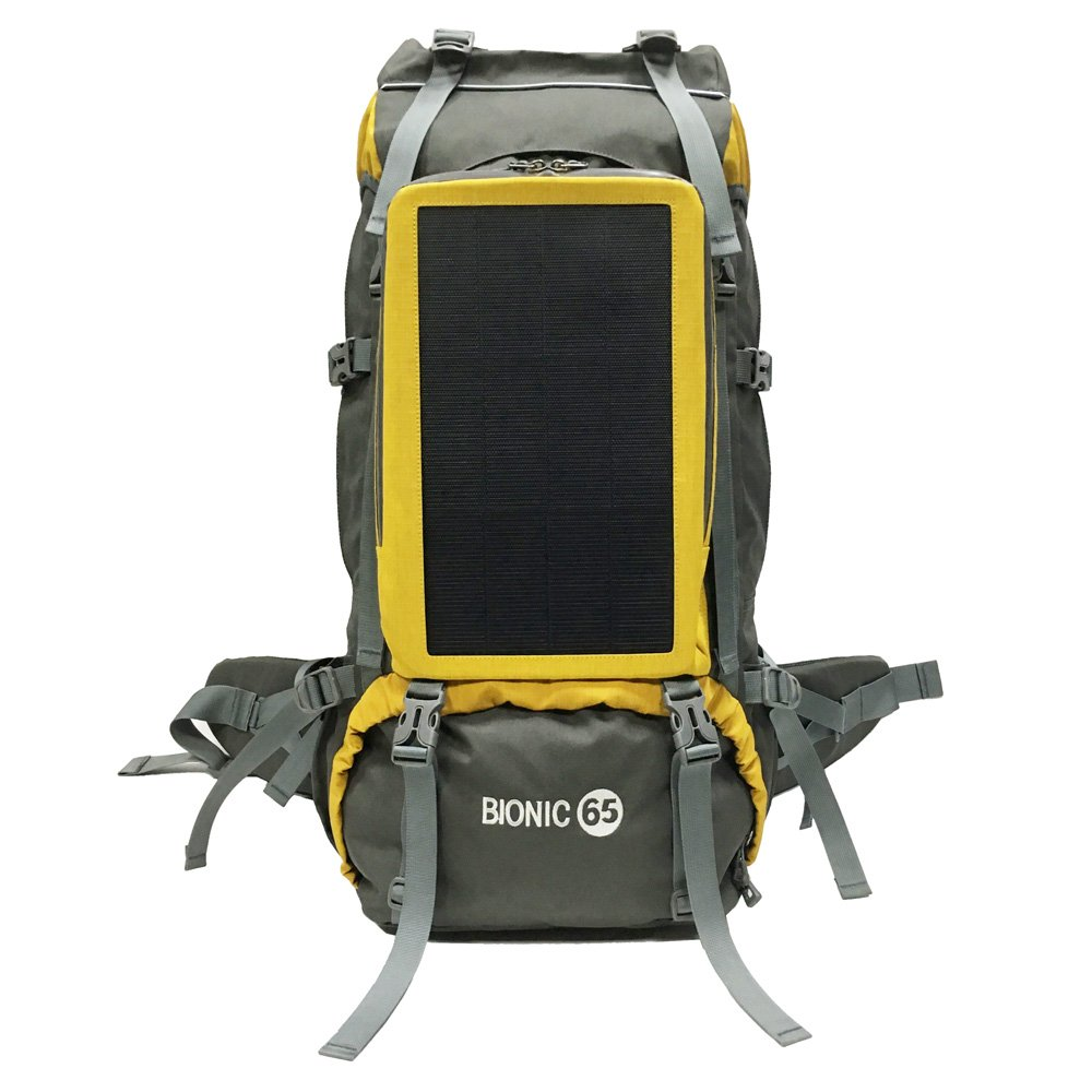 Gao Li Solar Powered Backpack/12W 1mm Flexible Thin Film Solar Panels and 65L Capacity Climbing Back Bag Waterproof PVC Daypack/Solar Power Charger Device(Grey+Yellow, 65L) by Gao Li