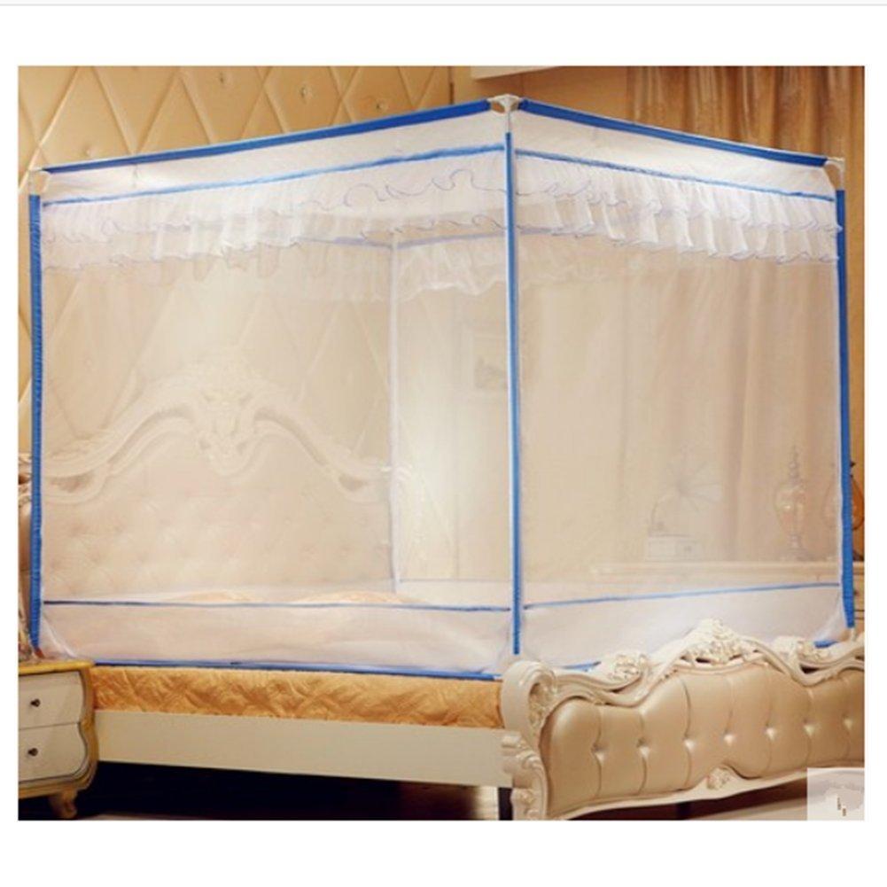 LSS Dreitürigen Moskitonetz Reißverschluss Schmiedeeisen Farbe Halterung Seite Oben Bett Typ Palast Moskitonetz 1,5 M1,8 Meter,Blau,1.22M