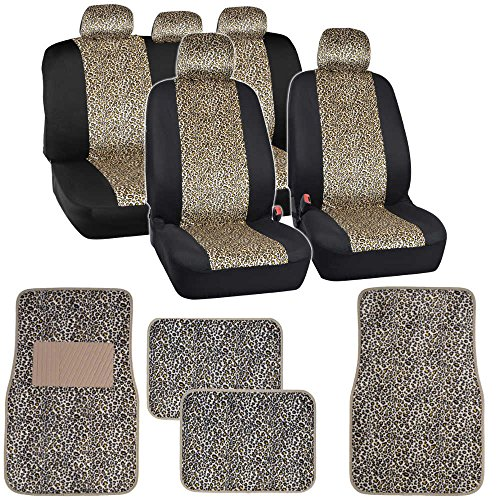 BDK Two Tone Cheetah Seat Covers Floor Mats for Car Truck SUV Auto Accessories