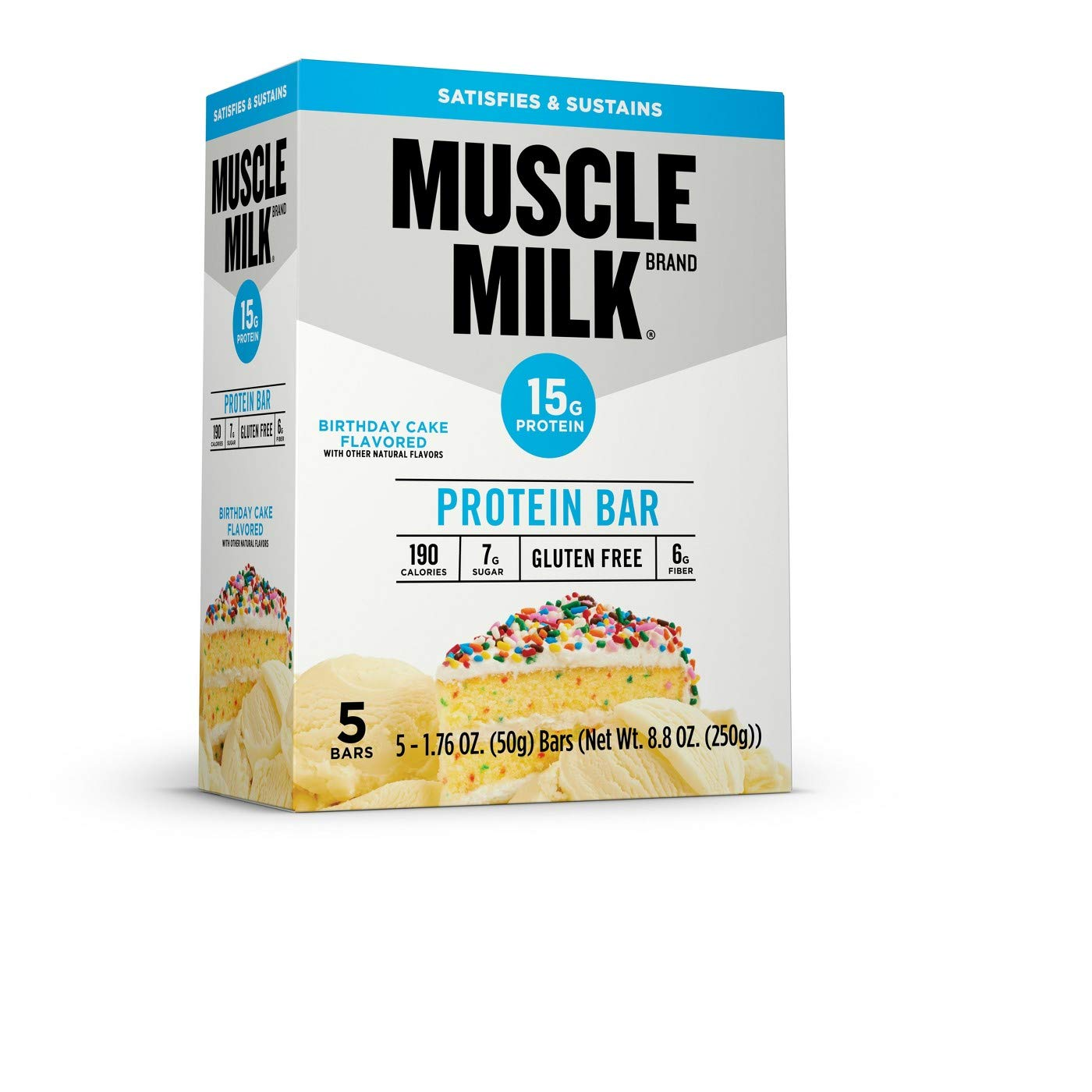 Amazon Muscle Milk Protein Bar Birthday Cake 5 Bars 88 Oz ONE Box Sports Outdoors
