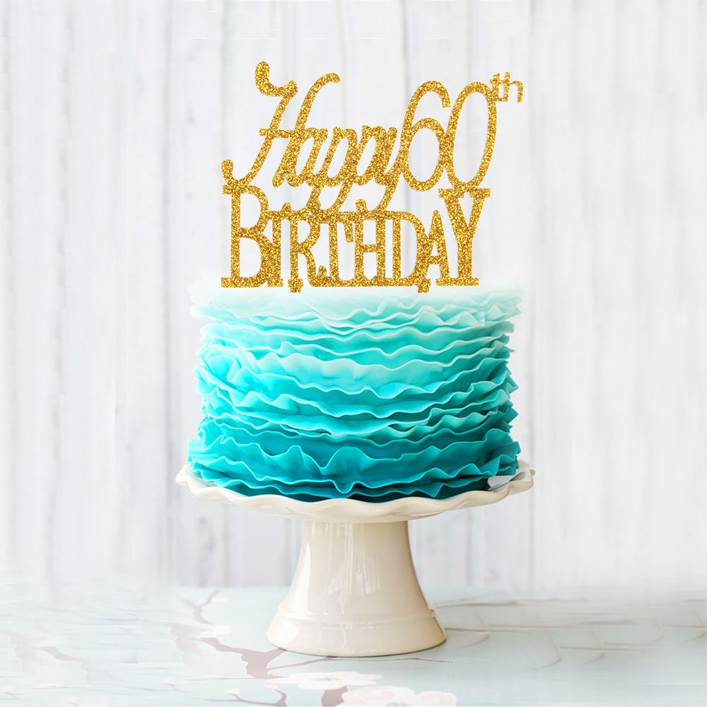Happy 60th Birthday Acrylic Cake Topper For 60 Years Old Birthday Or Party Decoration Supplies Gold
