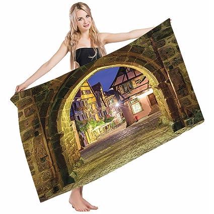 Amazon.com: Mugod Beach Towel Bath Towels Cityscape Riquewihr Alsace ...