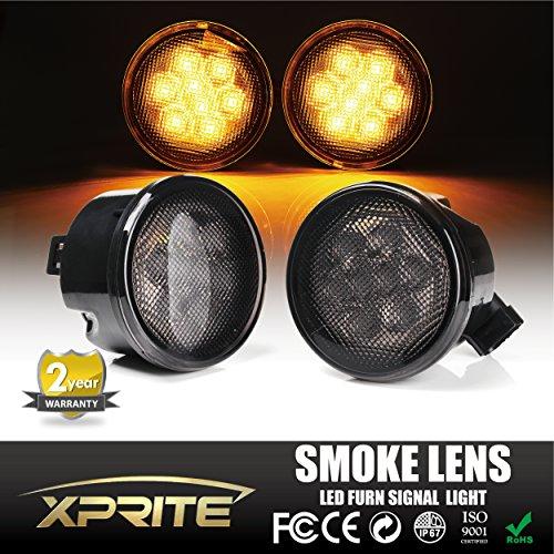 Smoke Turn Signal (Xprite Jeep Wrangler JK JKU 07-17 Front Grille Smoke Lens Amber Led Turn Signal Lights Parking)