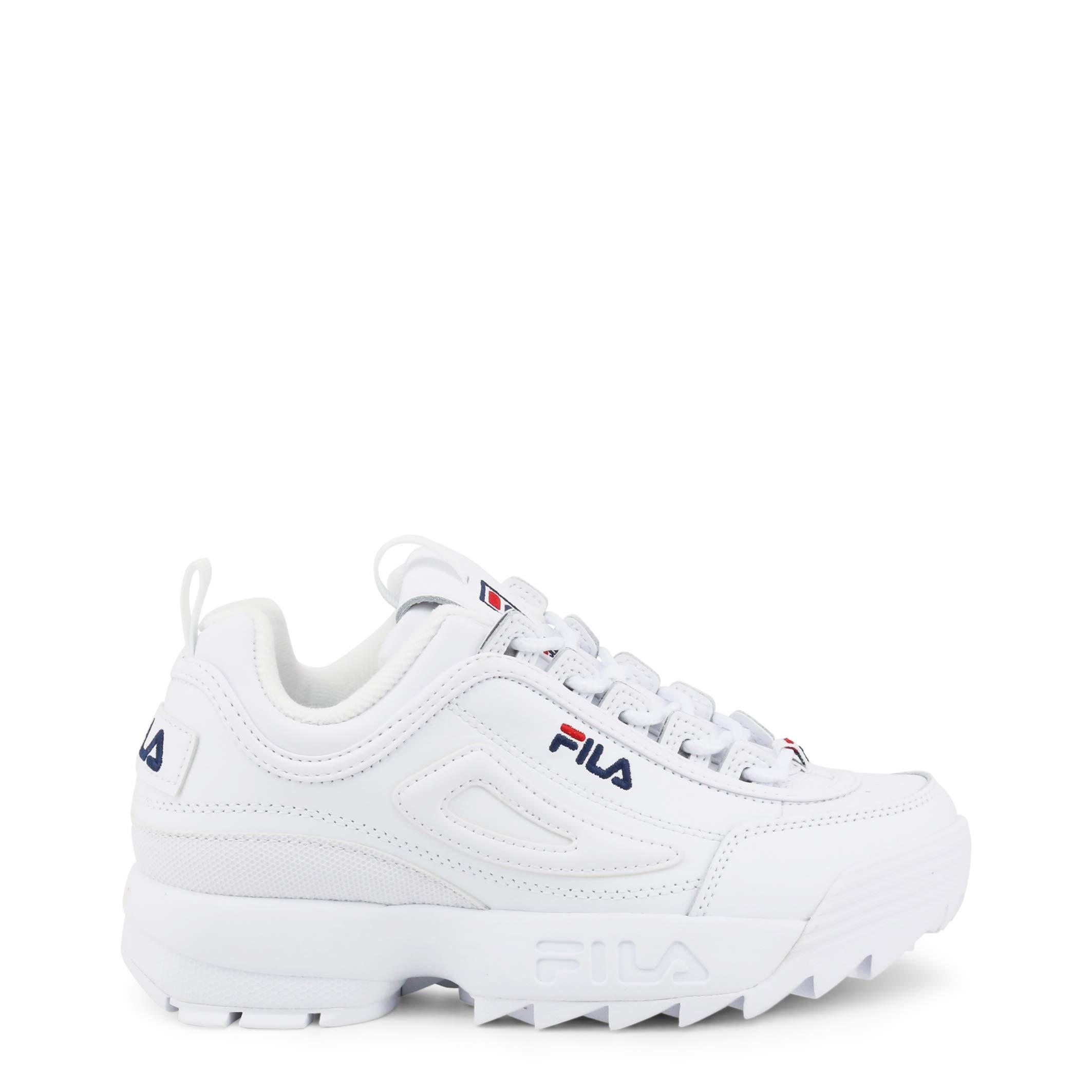 Fila Womens Disruptor II Premium Sneaker, Adult, White/Navy/Red, 6 M US by Fila