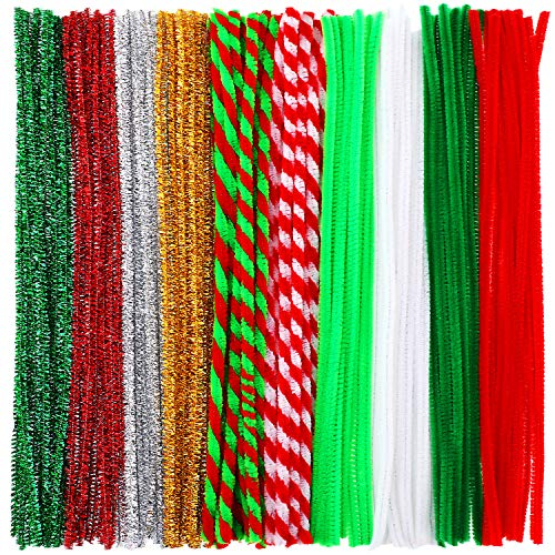 (Pangda 240 Pieces Christmas Stripe Pipe Cleaners Glitter Chenille Stem for DIY Crafts Art Supplies (10 Colors))