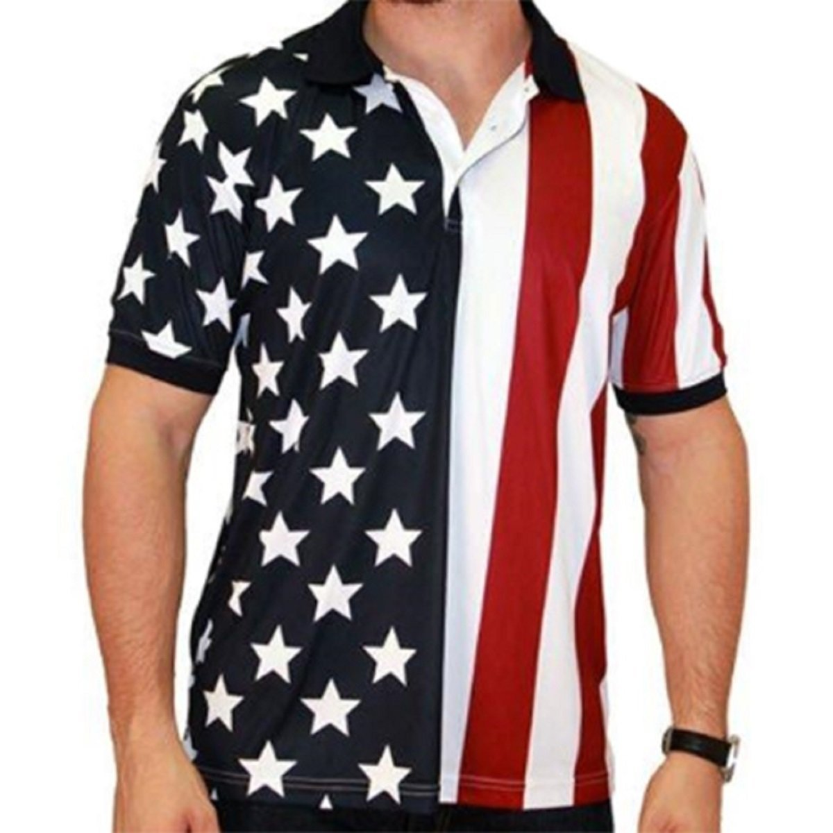 Men's Stars & Stripes Polo T-Shirt (Medium, RWB)