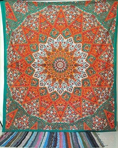 Unique Indian Hippie Mandala Multi Color (240x220cms) Tapestry by Craftozone TP02