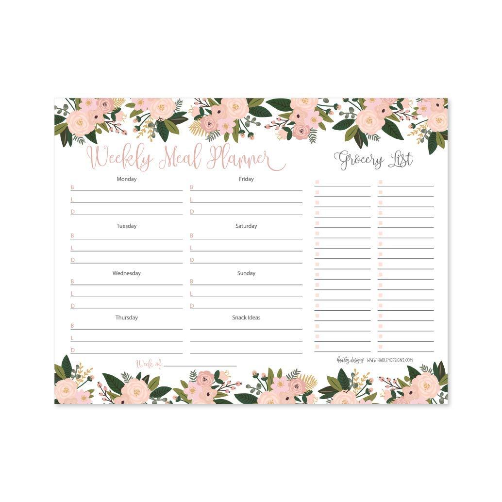 Pink Floral Weekly Meal Planning Calendar Grocery Shopping List Magnet Pad for Fridge, Magnetic Family Pantry Food Menu Board Organizer, Week Diet Prep Planner Tools, Refrigerator Eat Dinner Notepad