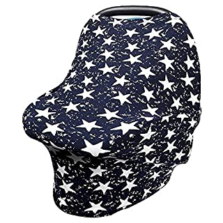 Car Seat Cover for Babies, Stretchy Multi Use Nursing Cover, Carseat Canopy Shopping Cart Cover Scarf,Super Light and Soft Stroller Cover, 360° Full Coverage, Best Baby Shower Gift for Boy&Girl