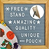Felt Letter Board 10 X 10 Inches, Gray Felt, Oak Frame 340 Changeable Letters, Numbers & Symbols, Colorful Owl  Pouch, Desk Stand for Office Home Decor