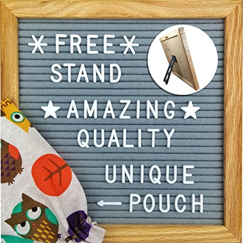 Felt Letter Board 10 X 10 Inches, Gray Felt, Oak Frame 340 Changeable Letters, Numbers & Symbols, Colorful Owl Pouch, Desk Stand for Office Home Decor -