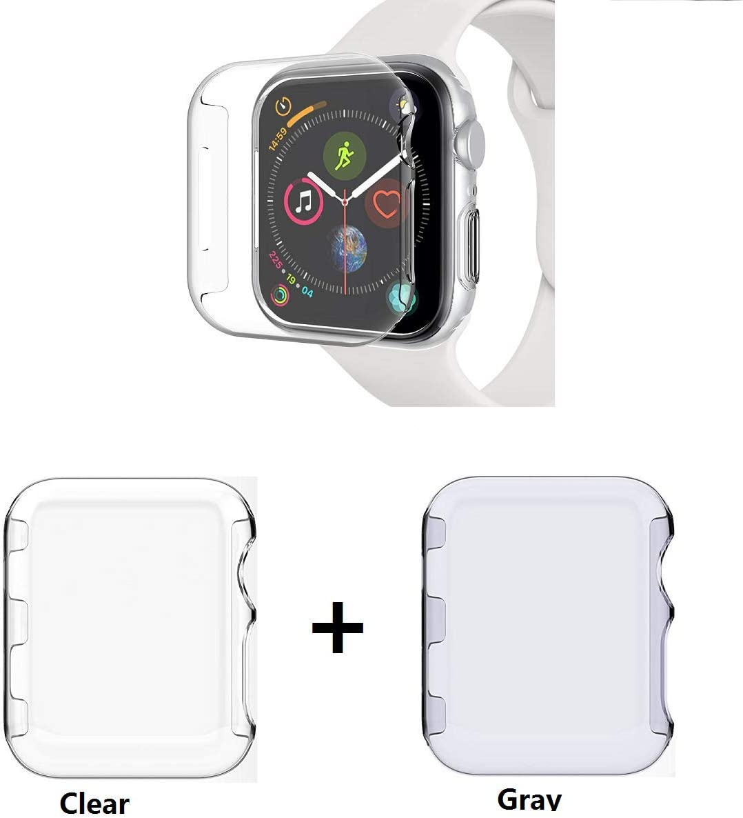 Sfmn PC Hard Clear Watch Case Compatible/Replacement for Apple Watch Series 4 44MM / iWatch 4 Case,Bumper Ultra-Slim Cystal Clear Full Coverage All-Around PC Hard Cover Case (PC Clear+Gray, 44MM)