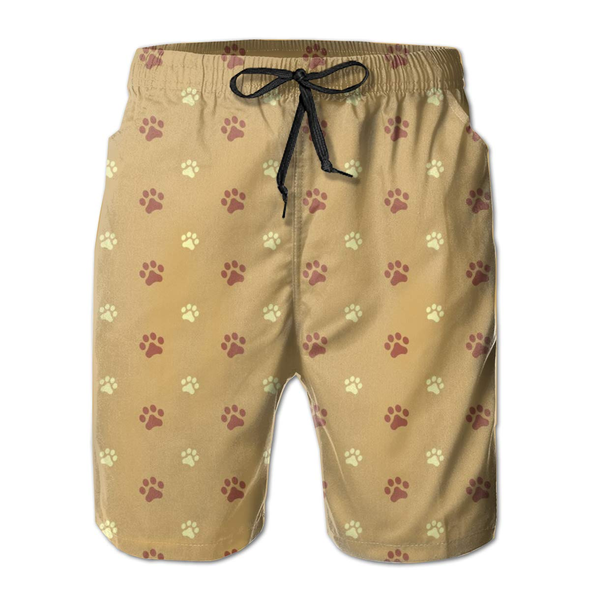 Mens Beach Shorts Quick Dry Paws Summer Holiday Mesh Lining Swimwear Board Shorts with Pockets