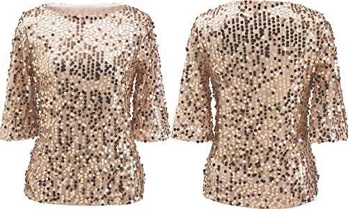 Women Sequin Sparkle Glitter Tank Coctail Party Tops Shining T-Shirt Blouses