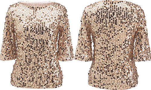 Women Sequin Sparkle Glitter Tank Coctail Party Tops T-Shirt Blouses (X-Large, Gold) (Gold Glitter Shirt)