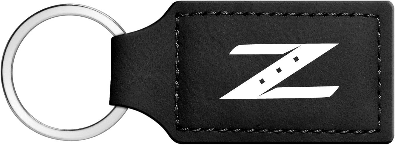 iPick Image Nissan 370Z Rectangular Black Leather Key Chain Key-Ring