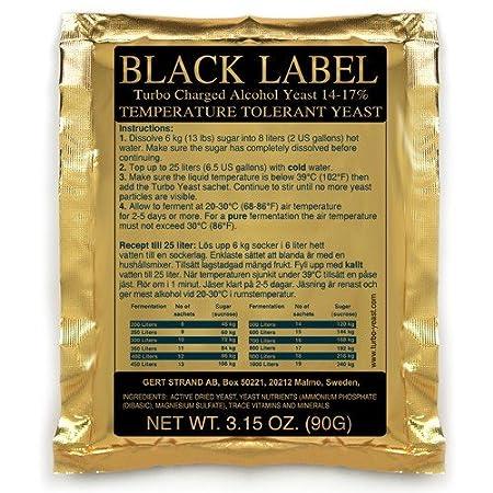 """Prestige """" Turbo Levadura Black Label 14% - reintönig vergärende Inoxidable Levadura con Bolsas de Sal para la Fruta brennerei Frutas y Vino ..."""