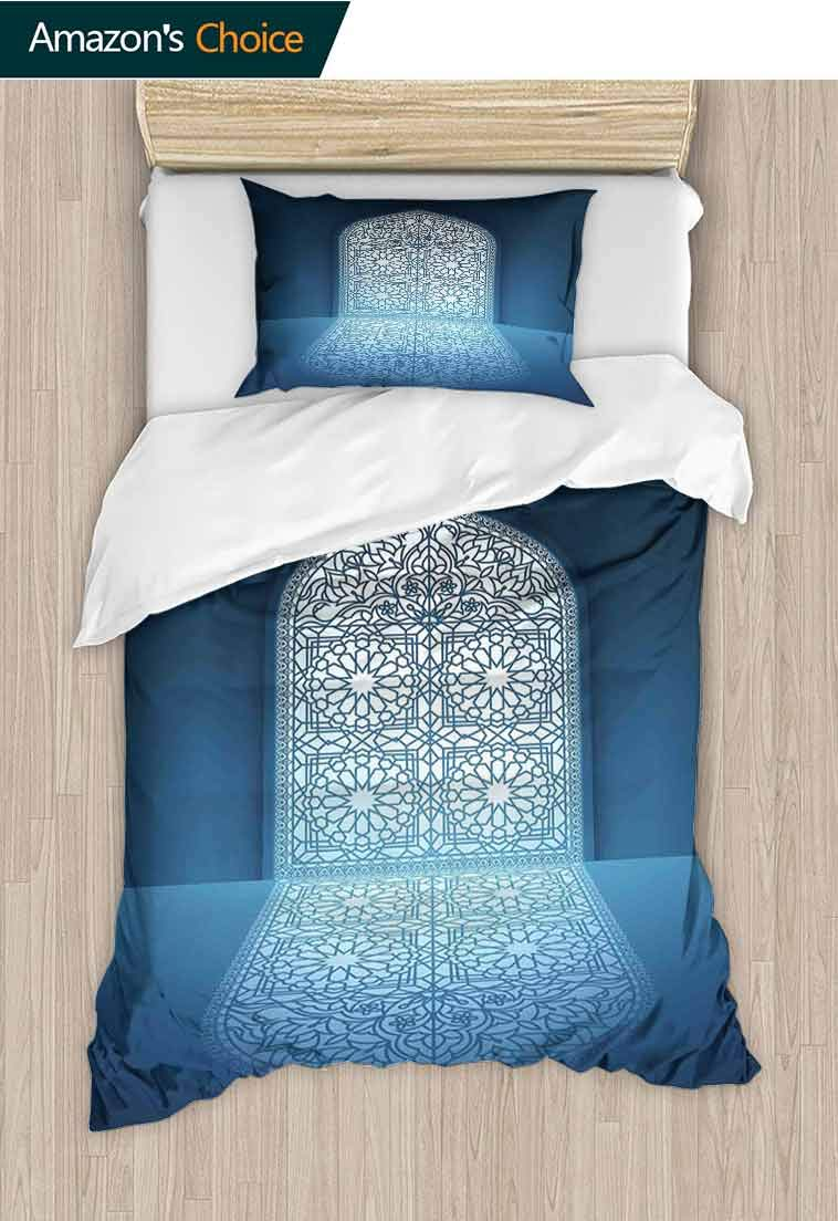 n DIY Duvet Cover and Pillowcase Set, Doors of Antique Building Grace Faith Themed Tribal Illustration Print, Reversible Coverlet, Bedspread, Gifts for Girls Women, 79 W x 90 L Inches White Turquoise