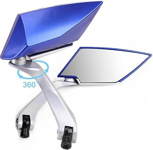 blu EBTOOLS Specchietti retrovisori laterali 8mm 10mm Specchi retrovisori laterali stile motociclistico universale in alluminio con fiamma