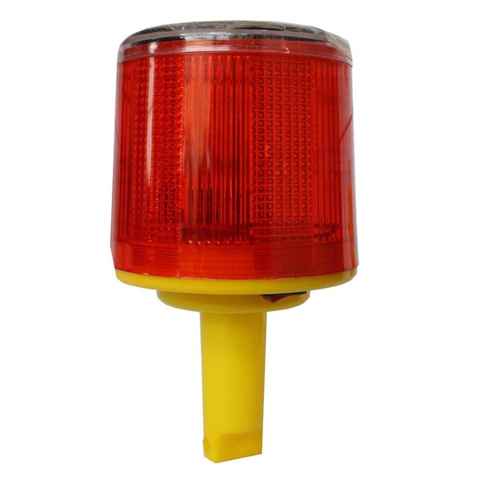 DE-Spark Emergency LED Solar Powered Strobe Warning Light, Road Construction Cone Traffic Light Flicker Beacon Lamp (Handheld)