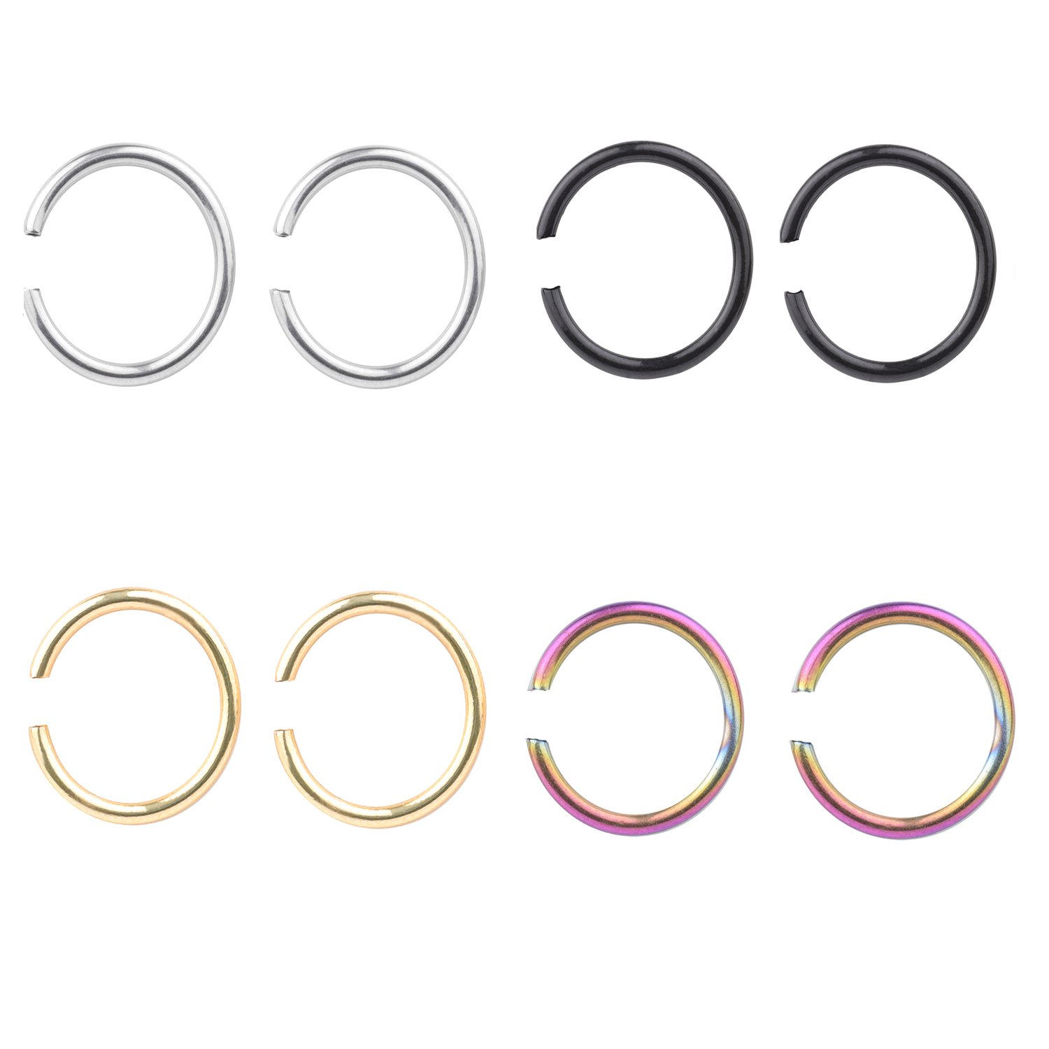 16G Surgical Stainless Round Ends Stainless Steel Body Jewelry Piercing Nose Hoop Ring 8mm