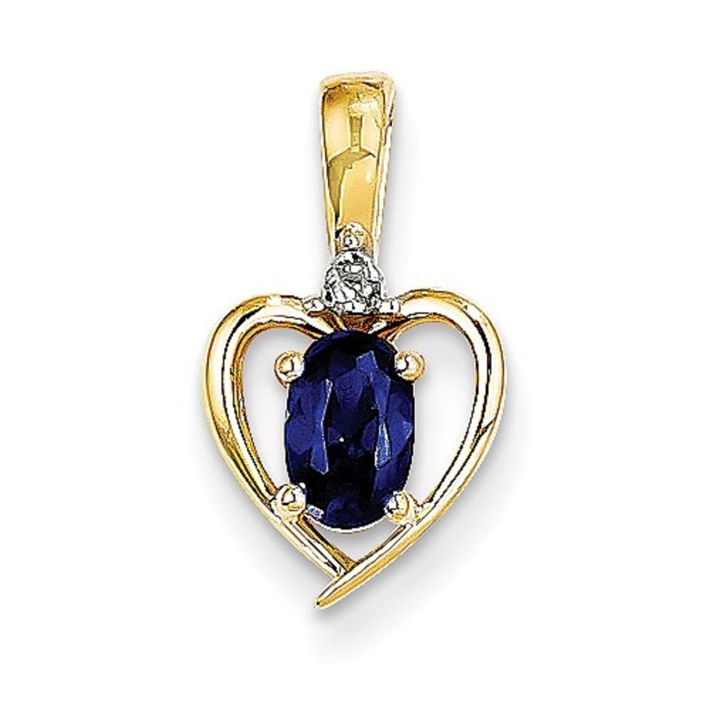 0.01 CTTW,I-J Color,I2 Clarity 10K Yellow Gold Sapphire September Birthstone and Diamond Heart Pendant