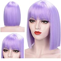 Short Straight Wig with Bangs for Women Synthetic Wigs Black Purple Pink Blue Bob Wig Heat Resistant Cosplay Hair,Purple,12inches