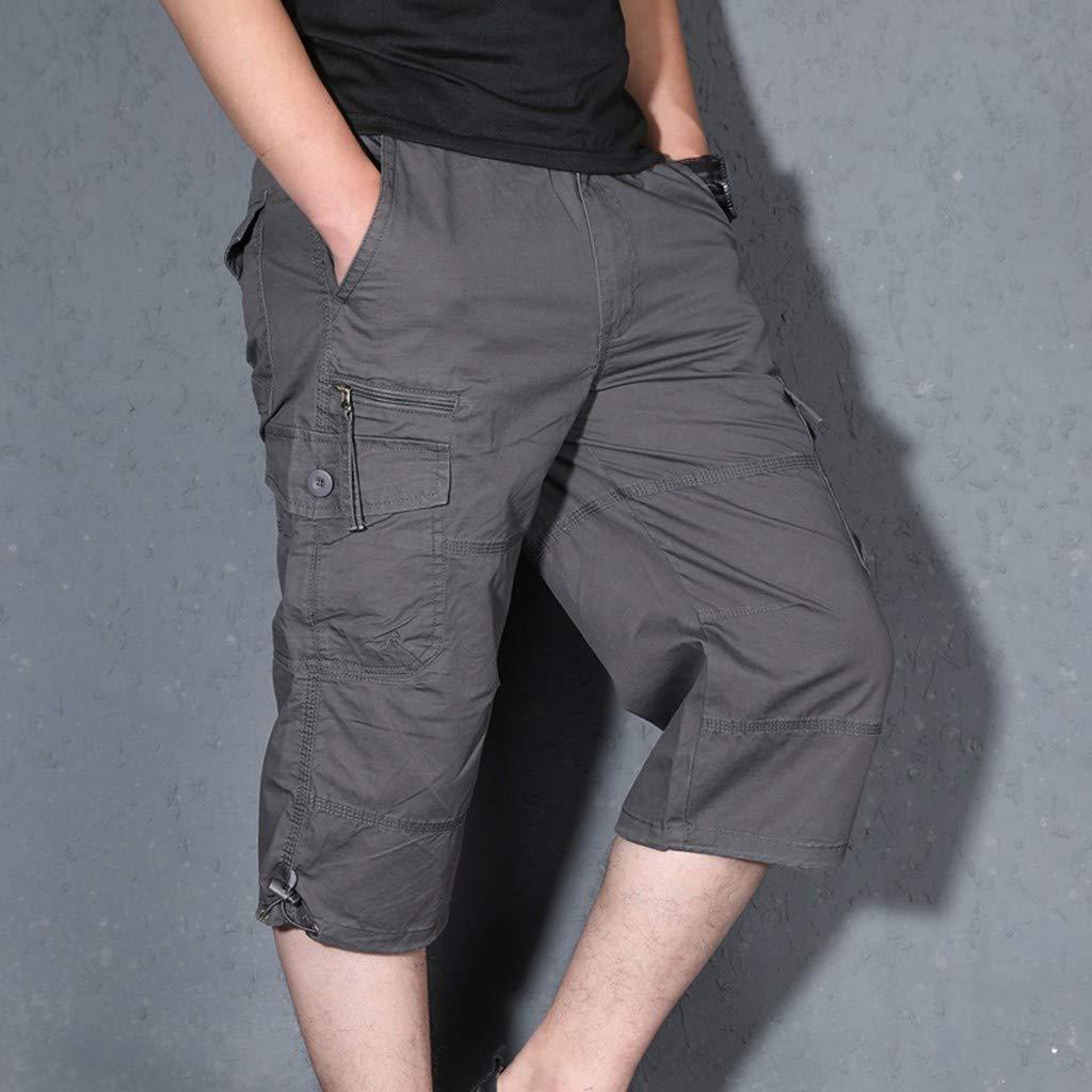 Kuerqi Mens Summer Fashion Outdoor Sports Multi-Pocket Overalls Pants