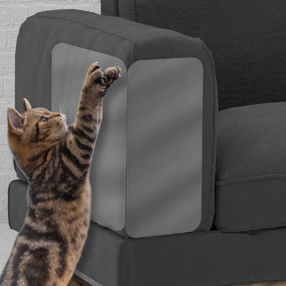 Pet Couch Protector 4 piezas por conjunto gato anti-arañazos adhesivo claro vinilo gato mascota perro pegatinas anti-arañazos con almohadillas autoadhesivas ...