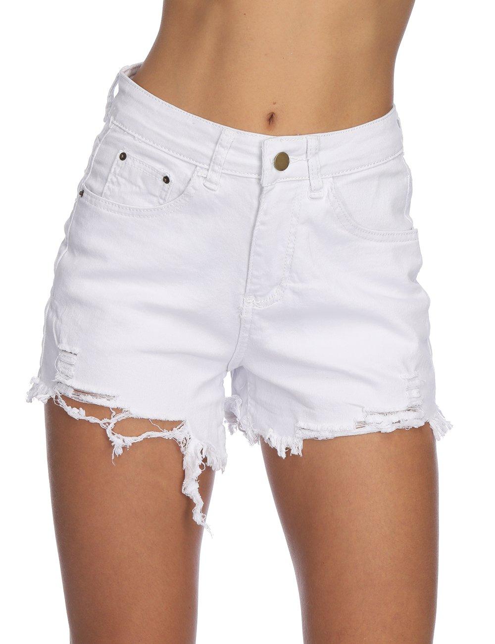 Haola Womens Denim Shorts Summer Stretchy Frayed Raw Hem Distressed Jeans Shorts White XL