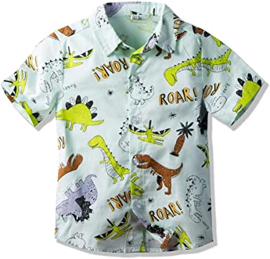 Enlifety Boys Girls Button Down Shirt Print Short Sleeve Tops Size 2-8T