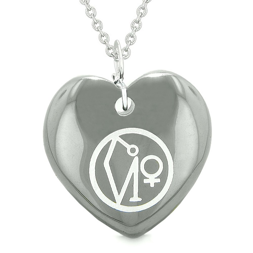 Archangel Uriel Sigil Magic Planet Energy Puffy Heart Amulet Hematite Pendant 22 inch Necklace