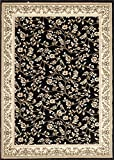Cheap Floral Black Transitional 5'2″ X 7'2″ Area Rug
