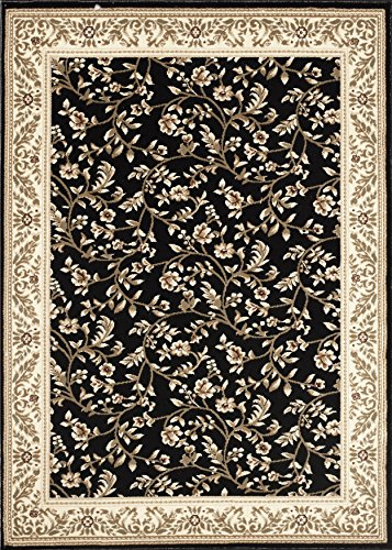 Black Transitional Rug (Floral Black Transitional 3'3