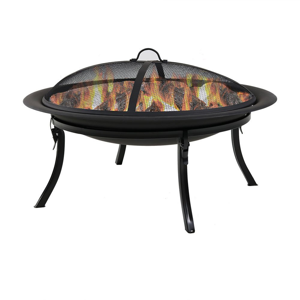 Sunnydaze Portable Outdoor Fire Pit Bowl - 29 Inch Round Bonfire Wood Burning Patio & Backyard Firepit for Outside with Spark Screen, Fireplace Poker, Folding Stand, and Carrying Case Cover by Sunnydaze Decor