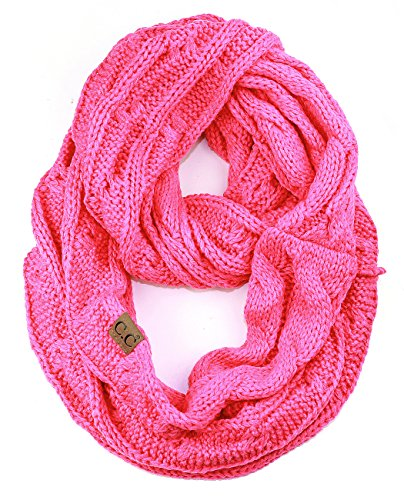 Candy Scarf - NYFASHION101 Soft Winter Warm Chunky Knit Cowl Infinity Loop Scarf, Candy Pink