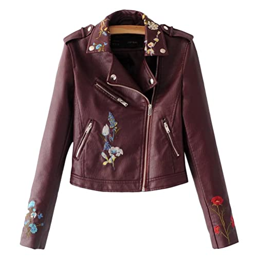 Zhhlinyuan PU Leather Embroidery Chaqueta Moto Mujer Multi-flower Flora Stitching Zip Outerwear Fash...