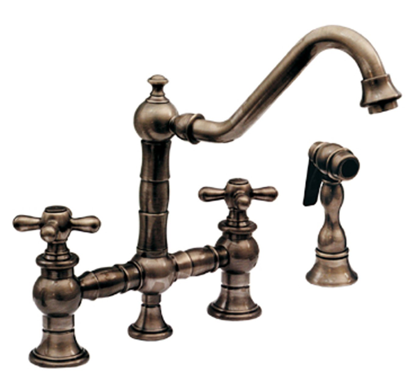 Whitehaus whkbtcr3 9201 ab vintage iii kitchen bridge faucet with long traditional swivel spout cross handles and matching side spray touch on kitchen