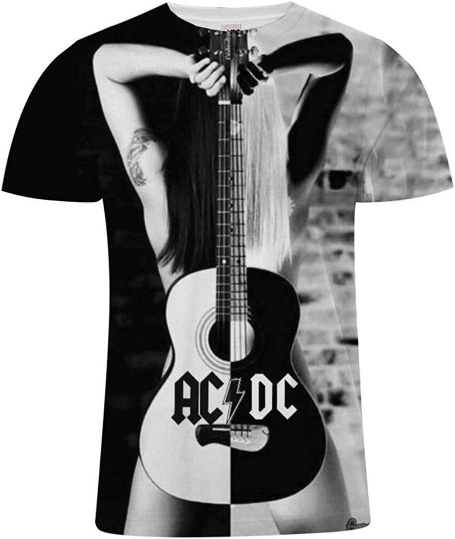 1 WONS Herren-Rundhals Kurzarm Top Acdc Muster-Druck-T-Shirt Beil/äufige Wilde Jugend-Sweatshirt Mehrere Gr/ö/ßenoptionen 3XL
