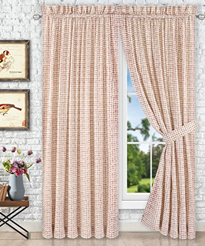 Ellis Curtain Davins Multi Colored Ikat Check 100-Percent Cotton Twill Tailored Panel Pair with Tiebacks, 90 x 84 , Clay