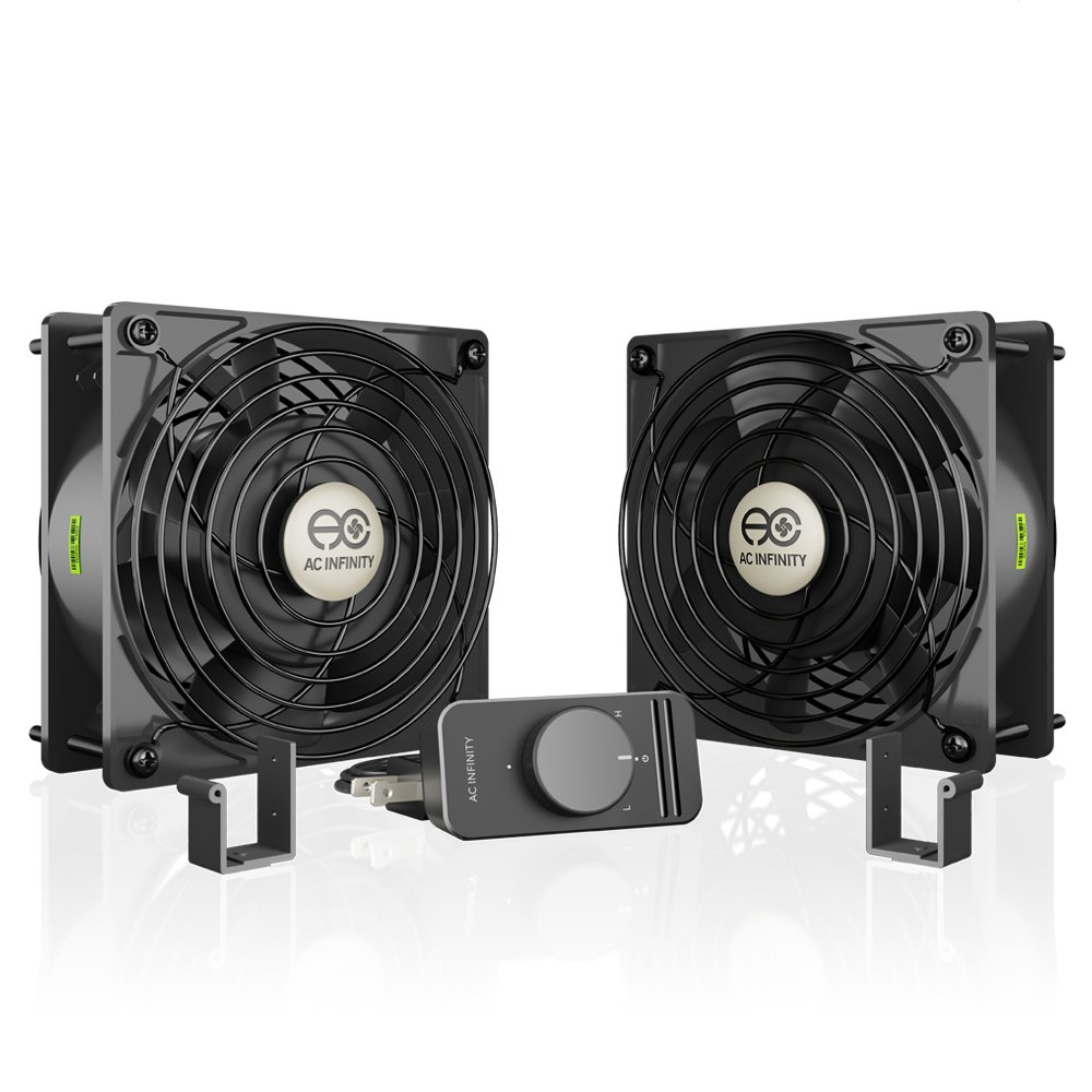 AC Infinity AXIAL S1238D, Dual 120mm Muffin Fan with Speed Controller, for Doorway, Room to Room, Wood Stove, Fireplace, Circulation Projects