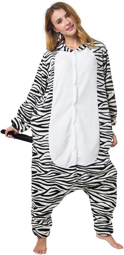 Altezza corporea 155-165cm Katara- Tuta Costume Animale per Carnevale Pigiama Zebra per Adulti M 1744