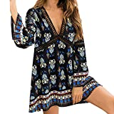 AMSKY Flower Dresses for Women 3/4 Sleeves,Womens Ladies Fashion V-Neck Print Hollow Out Daily Long Sleeve Party Dress,Jewelry,Black,L