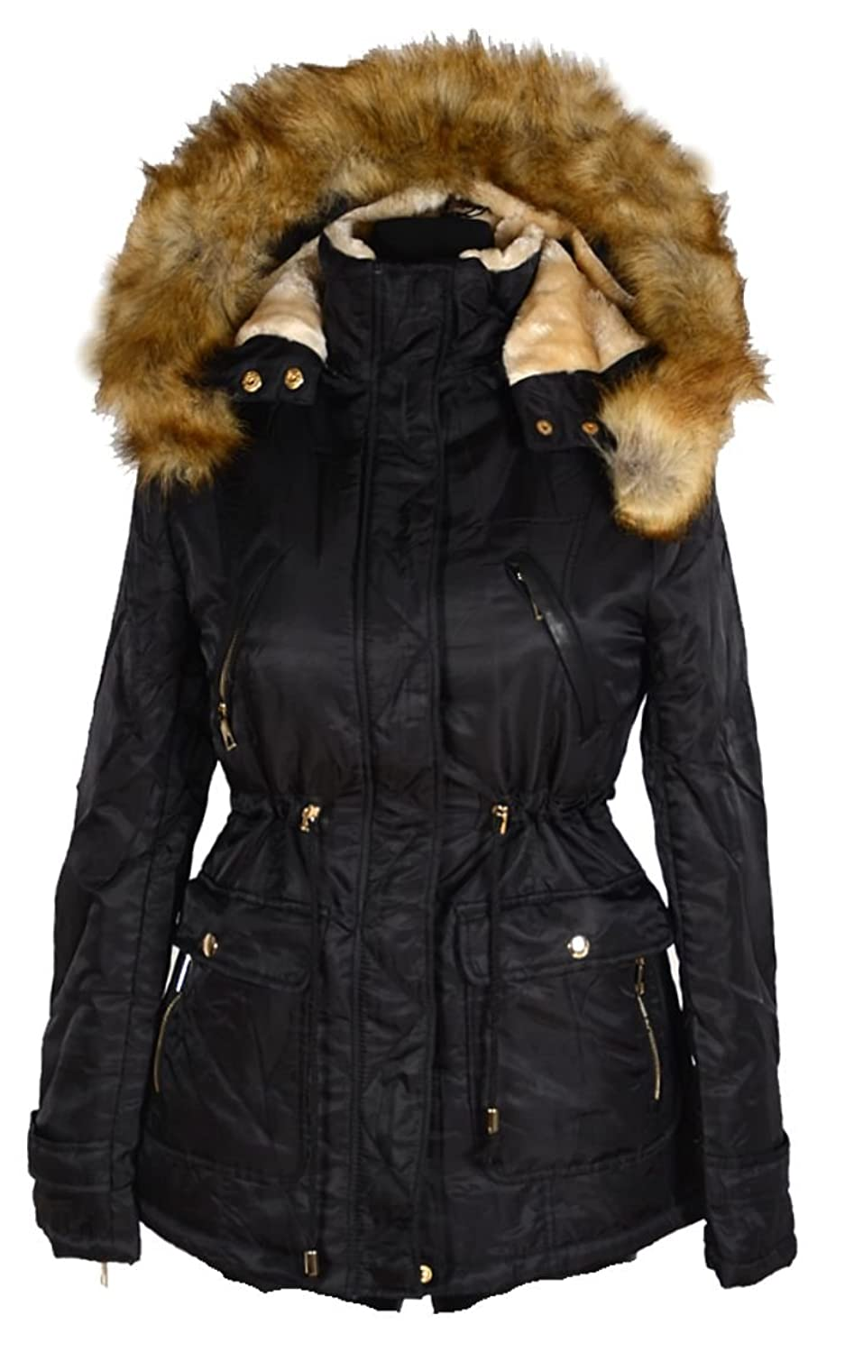 damen winterjacke parka warm gef ttert fell kapuze jacke. Black Bedroom Furniture Sets. Home Design Ideas