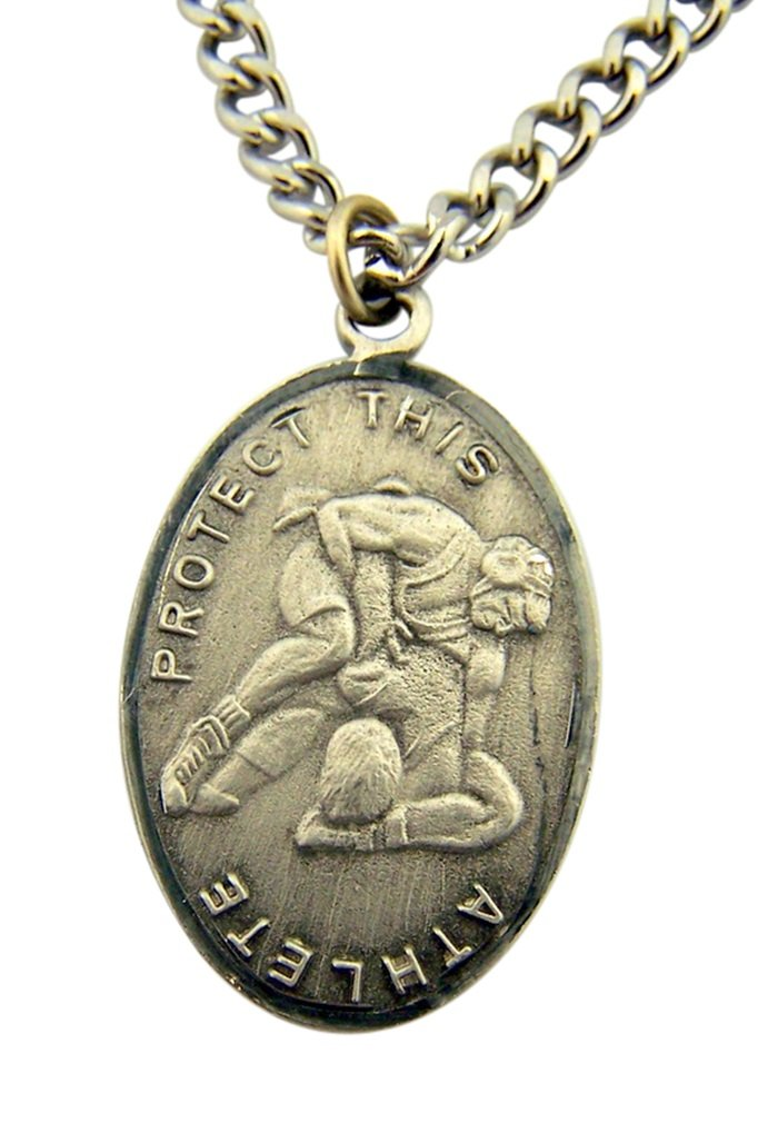 Silver Tone Patron of Sports Saint Sebastian Wrestling Athlete Medal, 1 Inch