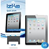 6 Pack iPad 4 Screen Protector For New Apple iPad Tablet 4th 4G Generation 2012 (Retina Display) Includes Microfibre Cleaning Cloth And Application Card - iZKA® One Stop Shop For All Your Accessory Needs