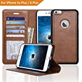 Navor ZEVO-D Slim Light Premium Wallet Case with Magnetic Detachable Cover for iPhone 6 Plus / 6S Plus [5.5 Inch] - Brown (IP6P1LBR)