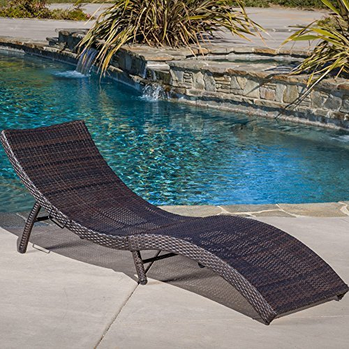 Maureen Outdoor Multibrown PE Wicker Folding Chaise Lounge Chair